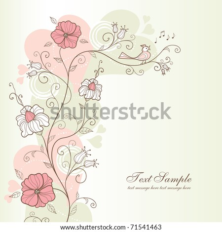 spring design with flowers and a singing bird, vector - stock vector