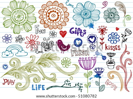Spring Doodles - stock vector