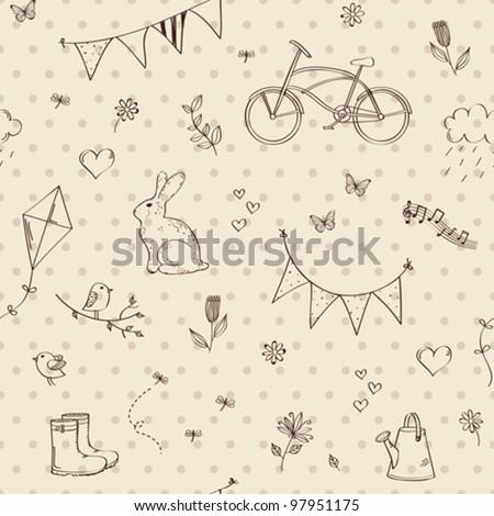 spring doodles seamless