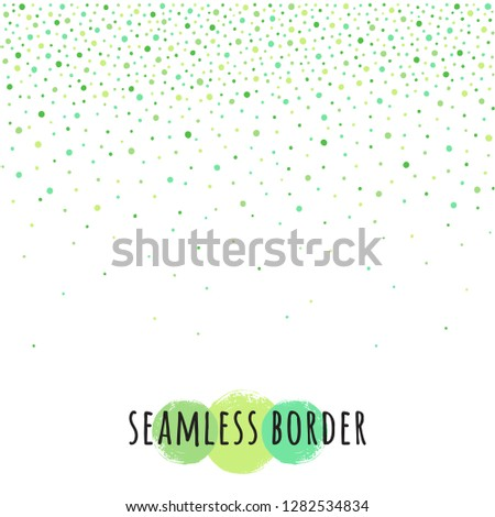 Spring, Easter background, fading dots frame or border seamless in horizontal direction. Uneven various grass green tiny spots, flecks, spray, specks, blobs, round drops, beads pattern. Design element