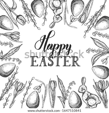 spring easter card with hand