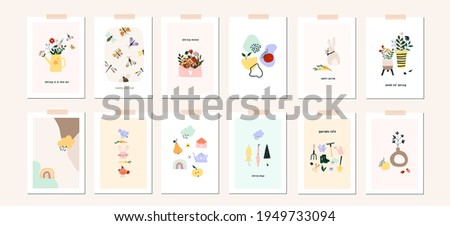 Spring Easter mood greeting card poster template. Welcome spring season invitation. Minimalist postcard nature leaves, tree, flowers, houses, abstract shapes. Vector illustration in flat cartoon style