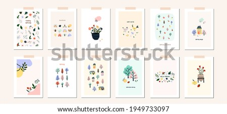 Spring Easter mood greeting card poster template. Welcome spring season invitation. Minimalist postcard nature leaves, tree, flower, houses, abstract shapes. Vector illustration in flat cartoon style