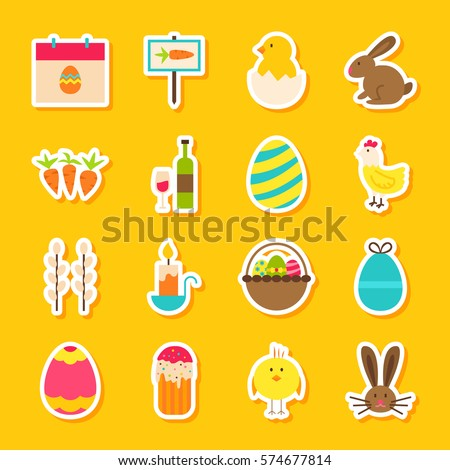 Spring Easter Stickers. Vector Illustration Flat Style. Collection of Happy Holiday Symbols.