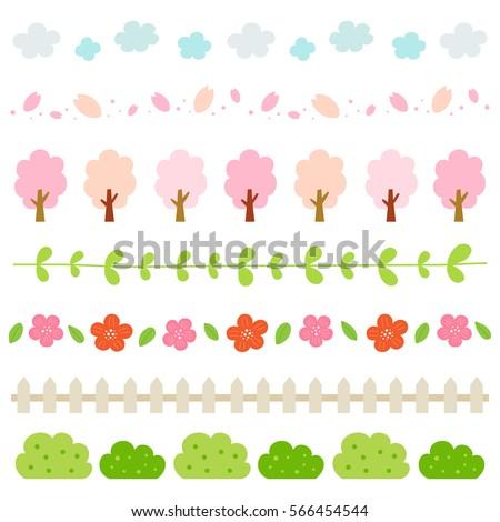 spring elements border set.