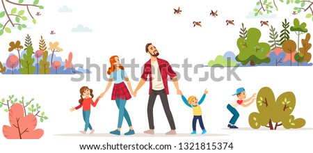 Spring. Family day. Image of hiking. a short trip. Spring landscape. Young family with toddler and children walking in park outdoor with cityscape background  cartoon vector illustration