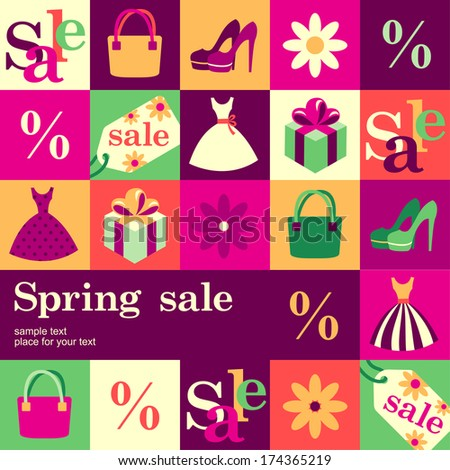 Spring fashion sale design template card Vector background
