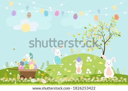 Spring field with bunny hunting Easter eggs,Vector Cute cartoon rabbits and hunny bees flying in grass field. Spring or Summer time banner with copy space for easter greeting card background
