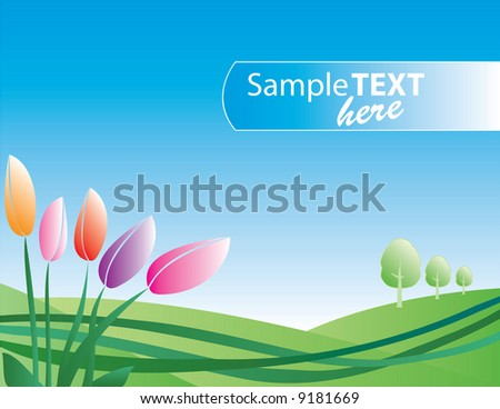 spring field with tulips