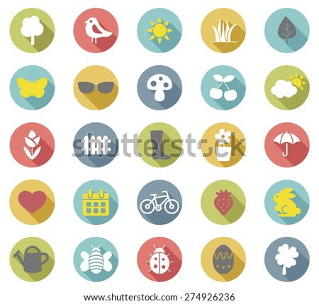 Spring flat  icons set.Vector