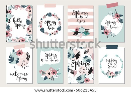 Spring floral cards with blossom and lettering. Springtime poster. Vector illustration.