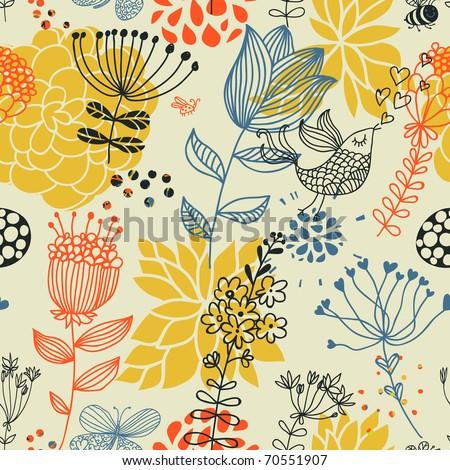 Spring floral design pattern with birds