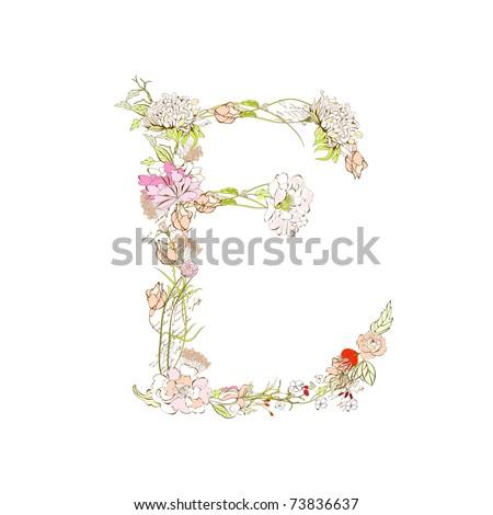 Spring Floral Font, Letter E Stock Vector 73836637 : Shutterstock
