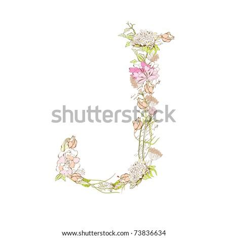 Spring Floral Font, Letter J Stock Vector 73836634 : Shutterstock