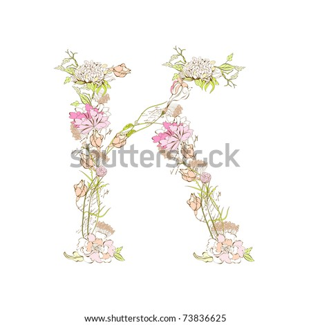 Spring floral font, Letter K