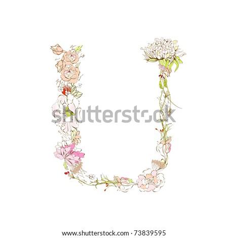Spring Floral Font, Letter U Stock Vector 73839595 : Shutterstock