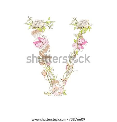 Spring Floral Font, Letter V Stock Vector 73876609 : Shutterstock