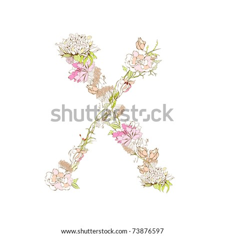 Spring Floral Font, Letter X Stock Vector 73876597 : Shutterstock