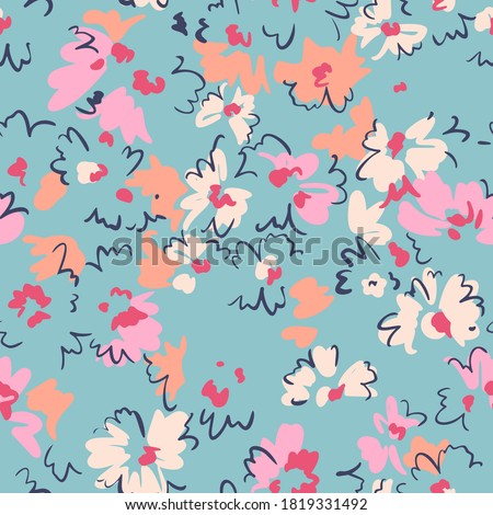Spring floral seamless pattern. Outline contour lines forming stylized blooming daisy flowers. Simple geometric shapes as curved lines and brush strokes. Sketch drawing. Nature motif.