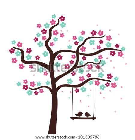 Spring flower love tree. Vector illustration
