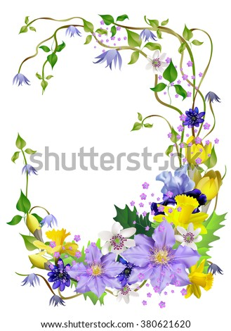 Spring flowers, a beautiful bouquet for design, anemones, primroses, freesia, lilies, irises,vector illustration Isolated on white background