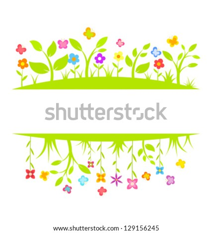Spring flowers and butterflies border. Vector illustration background