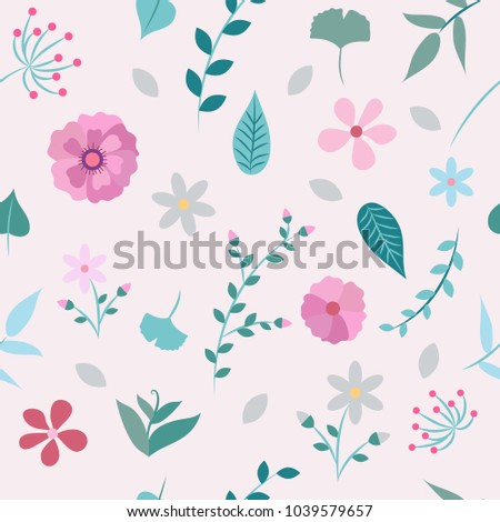 Spring flowers and leaves seamless pattern different types of spring flowers and leaves seamless pattern different types of flowers and leaves vector illustration mightylinksfo