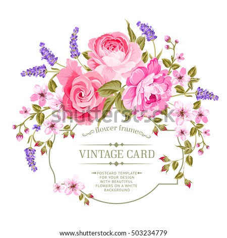 Spring flowers bouquet for vintage card. Pink peony with a vintage label isolated over white background. Vector illustration.