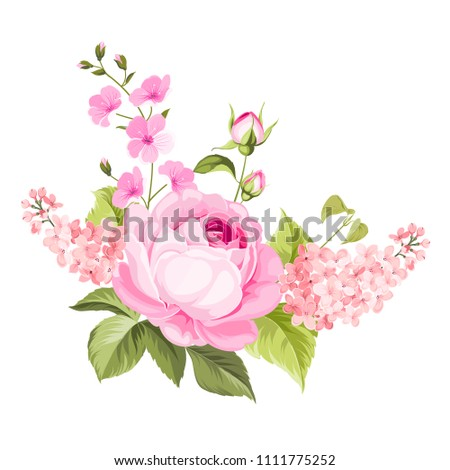 Spring flowers bouquet of color bud garland. Label with rose and lilac flowers. Vector illustration.