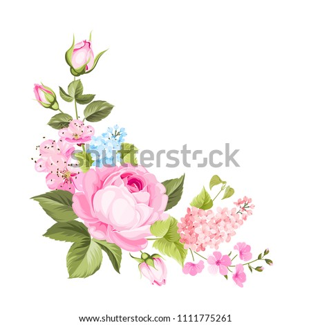 Spring flowers bouquet of color bud garland. Label with rose and lilac flowers. Vector illustration. #1111775261