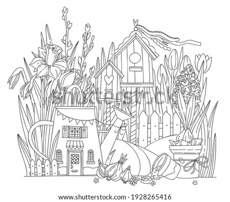 Spring flowers Coloring pages. Cozy watering can and birdhouses in spring flowers - daffodils, tulips, hyacinths.. Line art design for adult or kids colouring book in doodle style. ストックフォト ©
