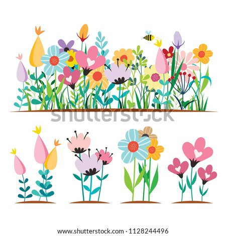 Spring flowers Design Concepts vector illustrations isolated on White #1128244496