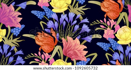 Spring flowers. Flower vintage seamless pattern. Oriental style. Tulips, buttercups, hyacinth, freesia, African lily. Colorful background for textiles, paper, wallpaper.