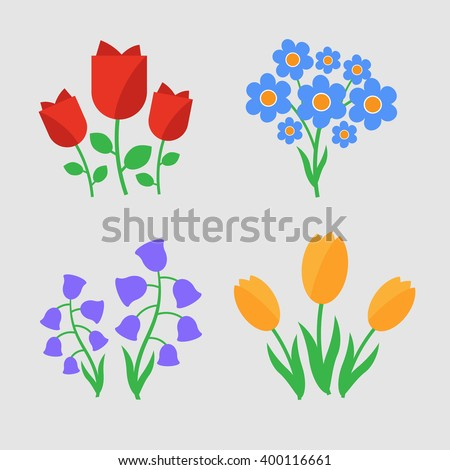 Spring flowers. Fun and cute vector spring flowers icons