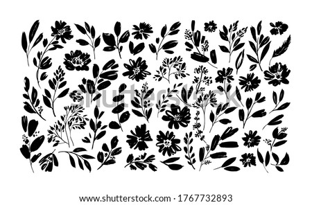 Spring flowers hand drawn vector set. Black brush flower silhouettes. Ink drawing wild plants, herbs or flowers, monochrome botanical illustration. Anemones, peonies, chrysanthemums isolated cliparts.