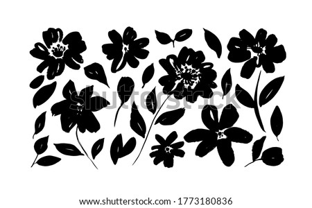 Spring flowers hand drawn vector set. Black brush flower silhouettes. Ink drawing wild plants, herbs or flowers, monochrome botanical illustration. Roses, peonies, chrysanthemums isolated cliparts.