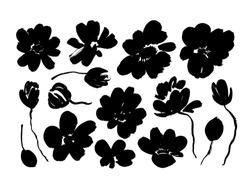 Spring flowers hand drawn vector set. Black brush flower silhouettes. Roses, peonies, chrysanthemums isolated cliparts. Floral drawings collection. Grunge dry paint brushstrokes on white background.