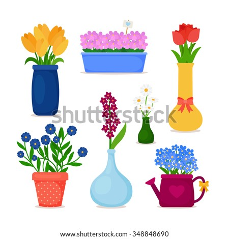 Spring flowers in pots and flower in vase set.  Bouquet vector icons.