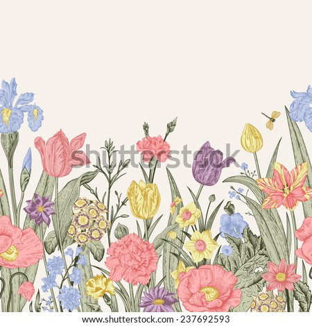 spring flowers. seamless floral ...