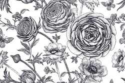 Spring flowers seamless floral pattern. Hand drawing garden plants buttercup, anemones, butterfly black on white background. Vector vintage illustration. For wrapping, fabric, fashion, paper, textile.
