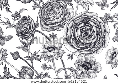 Black and white floral background vector download free vector art spring flowers seamless floral pattern hand drawing garden plants buttercup anemones butterfly black mightylinksfo