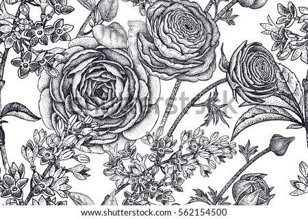 Spring Flowers Seamless Floral Pattern Hand Drawing Garden Plants Buttercup Lilac Black On
