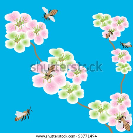 Spring flowers with bees in the blue sky ez canvas spring flowers with bees in the blue sky mightylinksfo