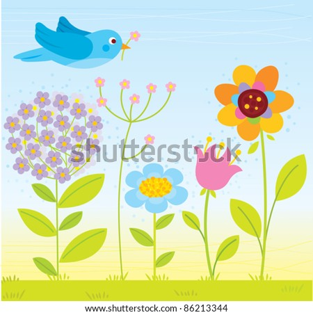 spring flowers with cute bird