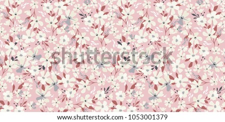 Spring flowery pattern. Seamless floral background for wrapping, textile, wallpaper. Vector flourish texture. Delicate  watercolor design.