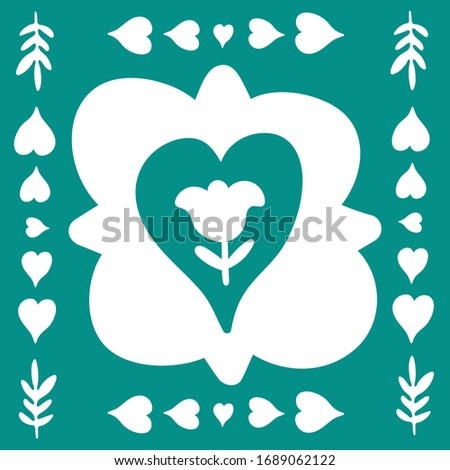 Spring folk doodle art. Square tile. Scandinavian floral style with traditional geometric shapes in festive green and white colors. Folklore cliparts elements for notebook, tile, napkins, postcard