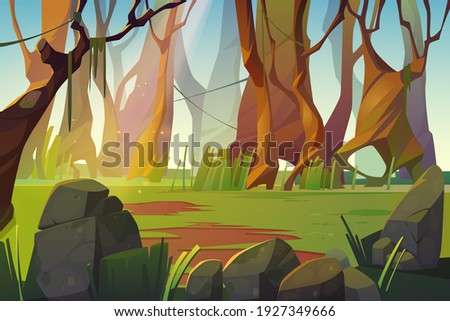 Spring forest glade with green grass. Scene of jungle, garden or natural park in daylight. Vector cartoon illustration of woods landscape with trees, lianas, stones and grass