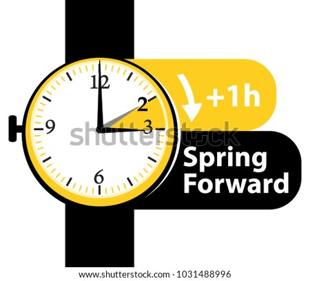 Spring forward. Daylight saving time. Summer time. Watch vector icon.