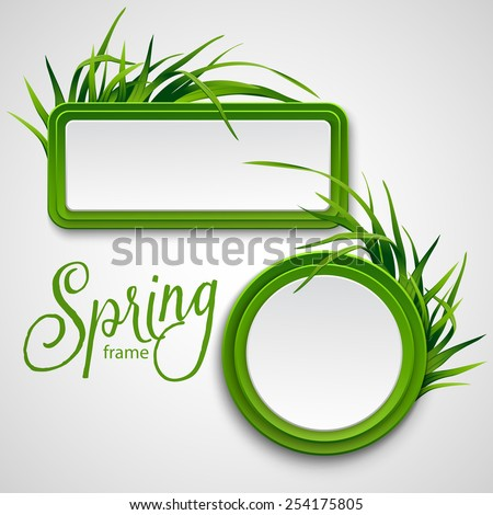 spring frame with grass vector
