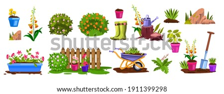 Spring garden equipment nature vector icon set with bloom bushes, flowerpots, fence, seedling, stone. Summer agriculture rural backyard objects cartoon isolated collection. Garden backyard elements